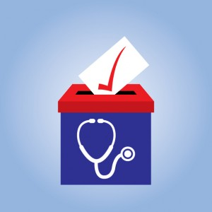 Vector illustration of a red and blue ballot box with a white stethoscope on it.